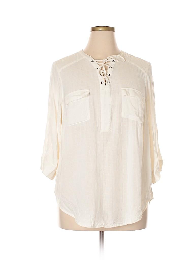 e84e5414bdc5c2 Torrid 100% Rayon Solid Ivory 3 4 Sleeve Blouse Size 1X Plus (1 ...
