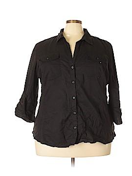 Caribbean Joe 3/4 Sleeve Button-Down Shirt Size 3X (Plus)