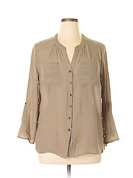 Notations Long Sleeve Button-Down Shirt Size 1X (Plus)