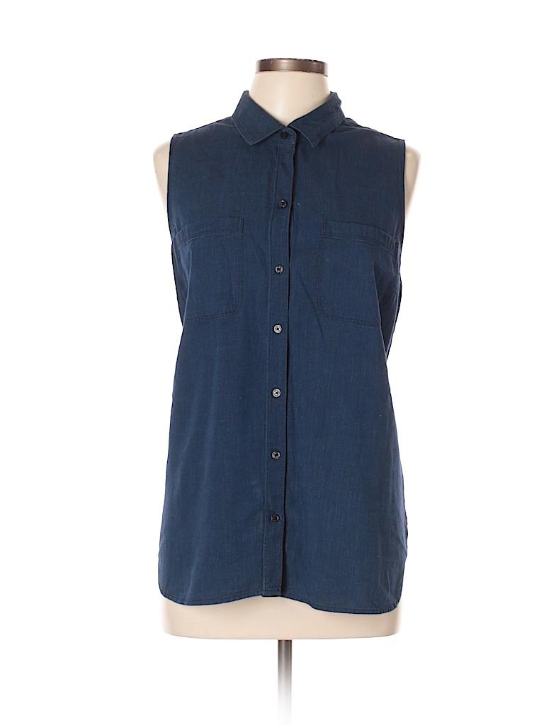 ea093f144eb3fa Old Navy Solid Dark Blue Sleeveless Button-Down Shirt Size XL - 52 ...