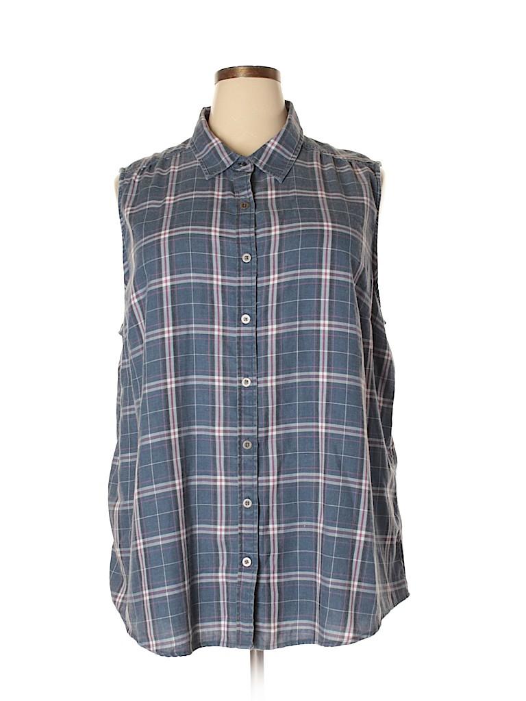 e378aba0303 Torrid Plaid Dark Blue Sleeveless Button-Down Shirt Size 3X Plus (3 ...