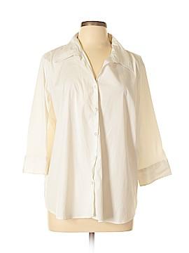 Cotton Express 3/4 Sleeve Button-Down Shirt Size 3X (Plus)