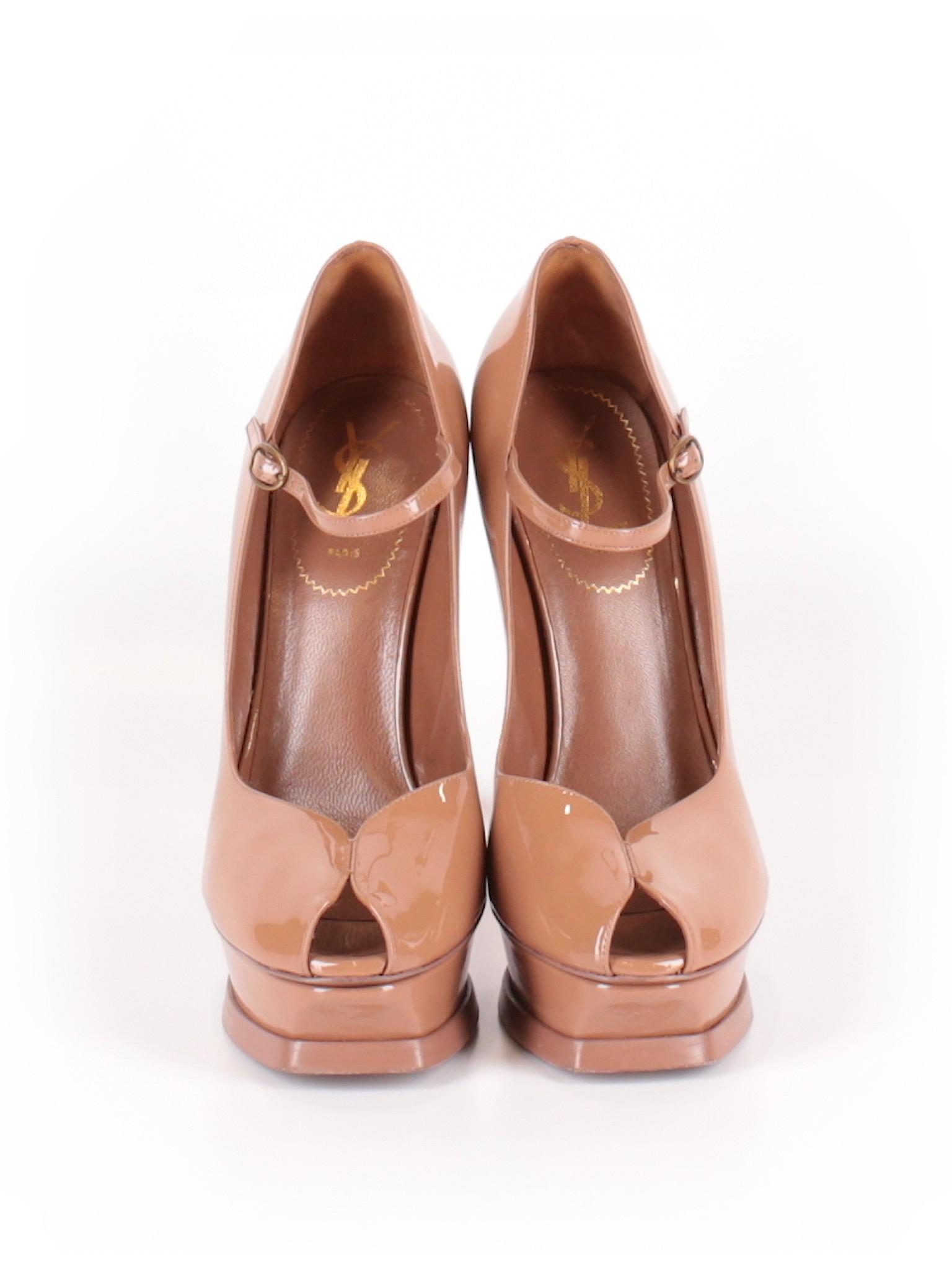 4c303ef7164 Yves Saint Laurent 100% Leather Solid Tan Heels Size 40 (EU) - 76% off |  thredUP