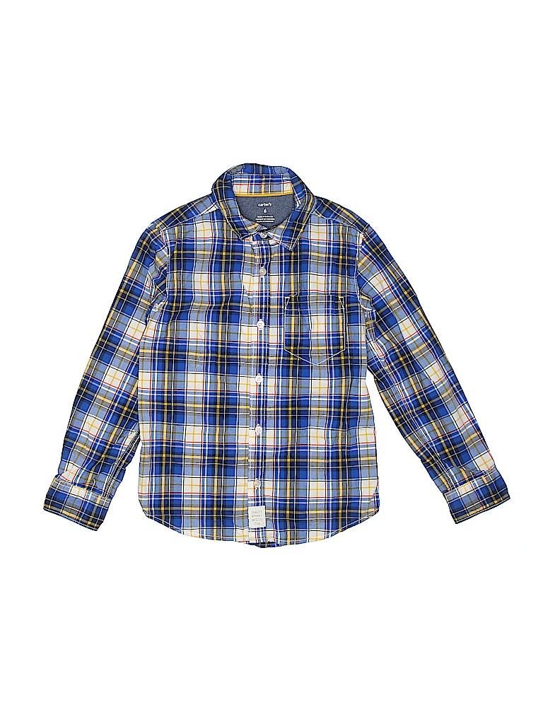 eb691079 Carter's 100% Cotton Plaid Dark Blue Long Sleeve Button-Down Shirt ...
