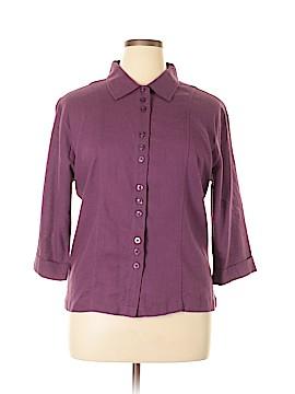 Christopher & Banks 3/4 Sleeve Button-Down Shirt Size 1X (Plus)