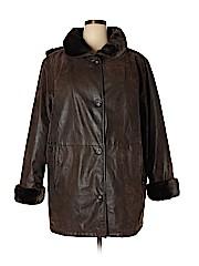 Maggie Barnes Women Faux Leather Jacket Size 1X (Plus)
