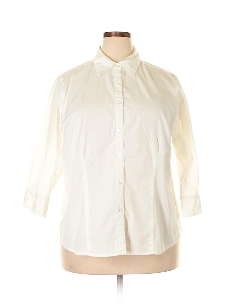 Kim Rogers Women 3/4 Sleeve Button-Down Shirt Size 2X (Plus)
