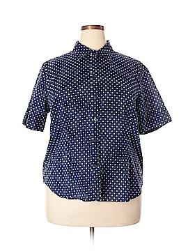 Jones New York Signature Short Sleeve Button-Down Shirt Size 2X (Plus)
