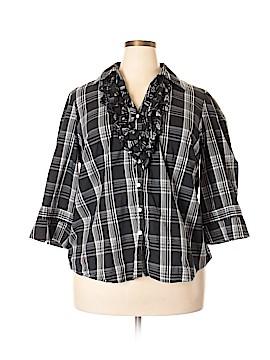 Spense 3/4 Sleeve Button-Down Shirt Size 2X (Plus)