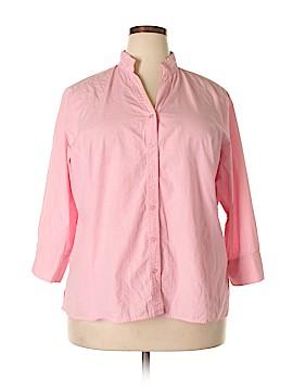 Harve Benard by Benard Holtzman 3/4 Sleeve Button-Down Shirt Size 1X (Plus)