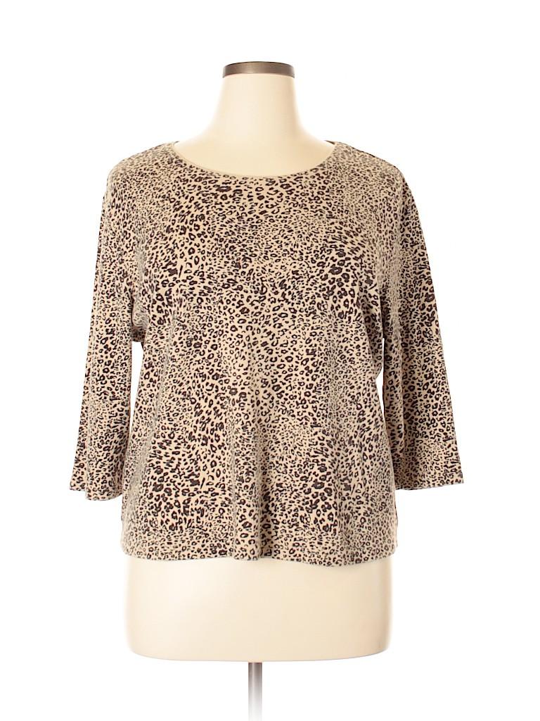 0cff7b63019d2 Karen Scott 100% Cotton Animal Print Tan 3 4 Sleeve T-Shirt Size 1X ...