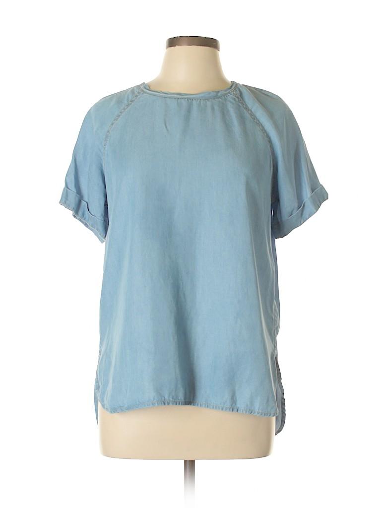 26bb23877c586 Live 4 Truth 100% Lyocell Chambray Light Blue Short Sleeve Blouse ...