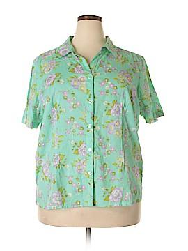 Cappagallo Short Sleeve Button-Down Shirt Size 2X (Plus)