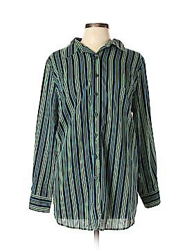 Roaman's Long Sleeve Button-Down Shirt Size L
