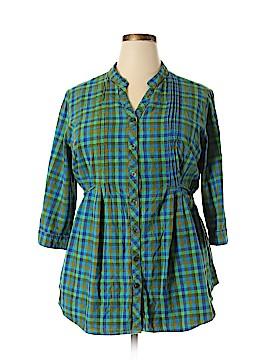 Unique 3/4 Sleeve Button-Down Shirt Size 3X (Plus)