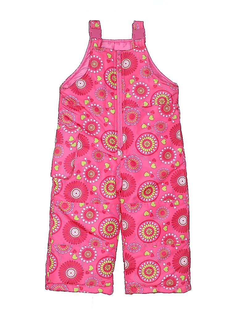 9e15c03e1c67 London Fog 100% Polyester Print Pink Snow Pants With Bib Size 2T - 4 ...