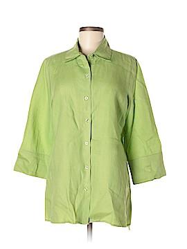 Ecru 3/4 Sleeve Button-Down Shirt Size L