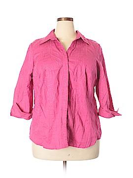 Autograph 3/4 Sleeve Button-Down Shirt Size 2X (Plus)