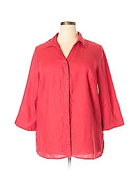 Richard Malcom 3/4 Sleeve Button-Down Shirt Size 2X (Plus)
