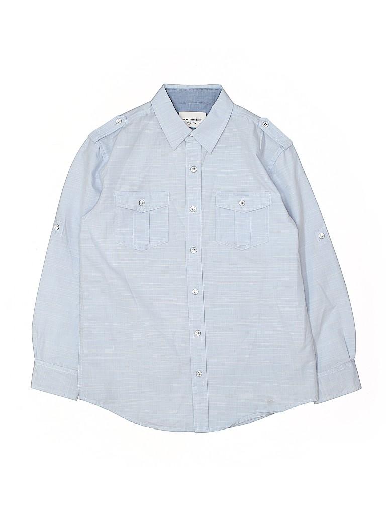 b95e1c4e6b Paper Denim   Cloth Solid Light Blue Long Sleeve Button-Down Shirt ...
