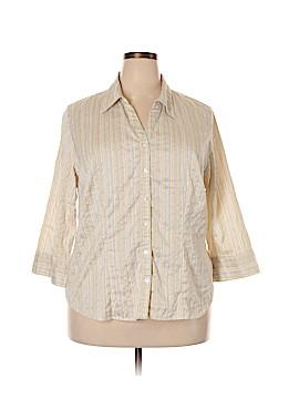 Unique Spectrum 3/4 Sleeve Button-Down Shirt Size 2X (Plus)
