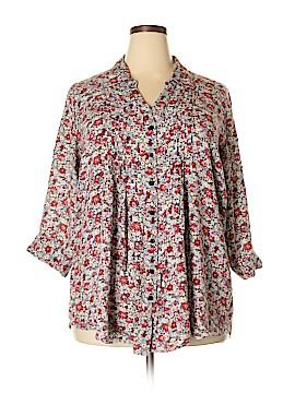JW (JW Style) 3/4 Sleeve Button-Down Shirt Size 2X (Plus)