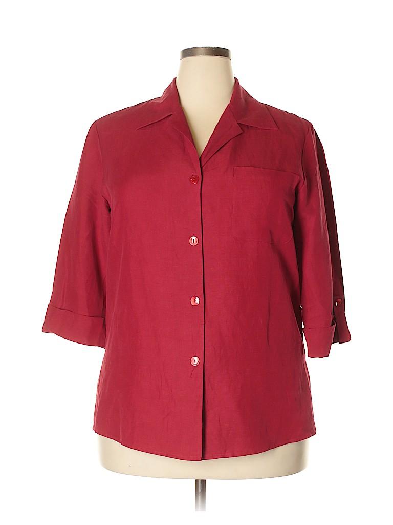 DressBarn Women 3/4 Sleeve Silk Top Size 14 - 16 Plus (Plus)