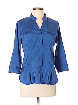 Cotton Express 3/4 Sleeve Button-Down Shirt Size L