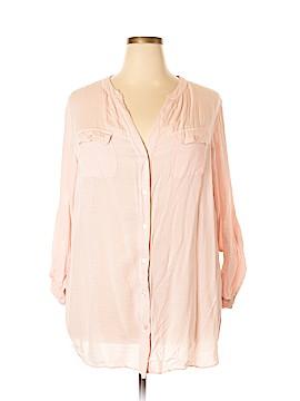 Sandra Ingrish Long Sleeve Button-Down Shirt Size 18 (Plus)