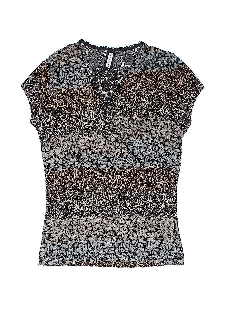 db354da704e7c5 Forever 21 100% Polyester Lace Black Short Sleeve Blouse Size L - 72 ...