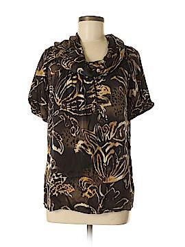 AK Anne Klein Short Sleeve Silk Top Size M