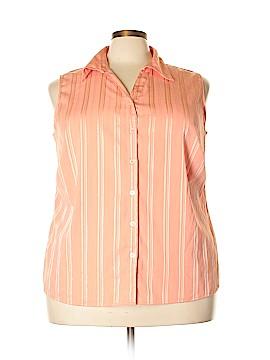 Notations Sleeveless Button-Down Shirt Size 2X (Plus)