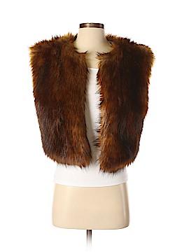 Line & Dot Faux Fur Vest Size XS