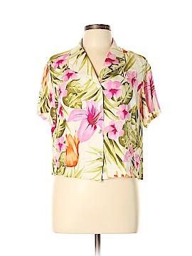 Caribbean Joe Short Sleeve Silk Top Size XL (Petite)