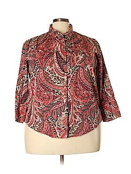 Coral Bay 3/4 Sleeve Button-Down Shirt Size 2X (Plus)