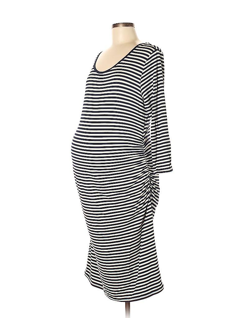 4545a0cee2f3f Liz Lange Maternity Stripes Dark Blue Casual Dress Size L (Maternity ...