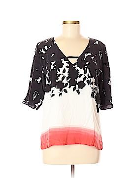 Ecru Short Sleeve Silk Top Size M