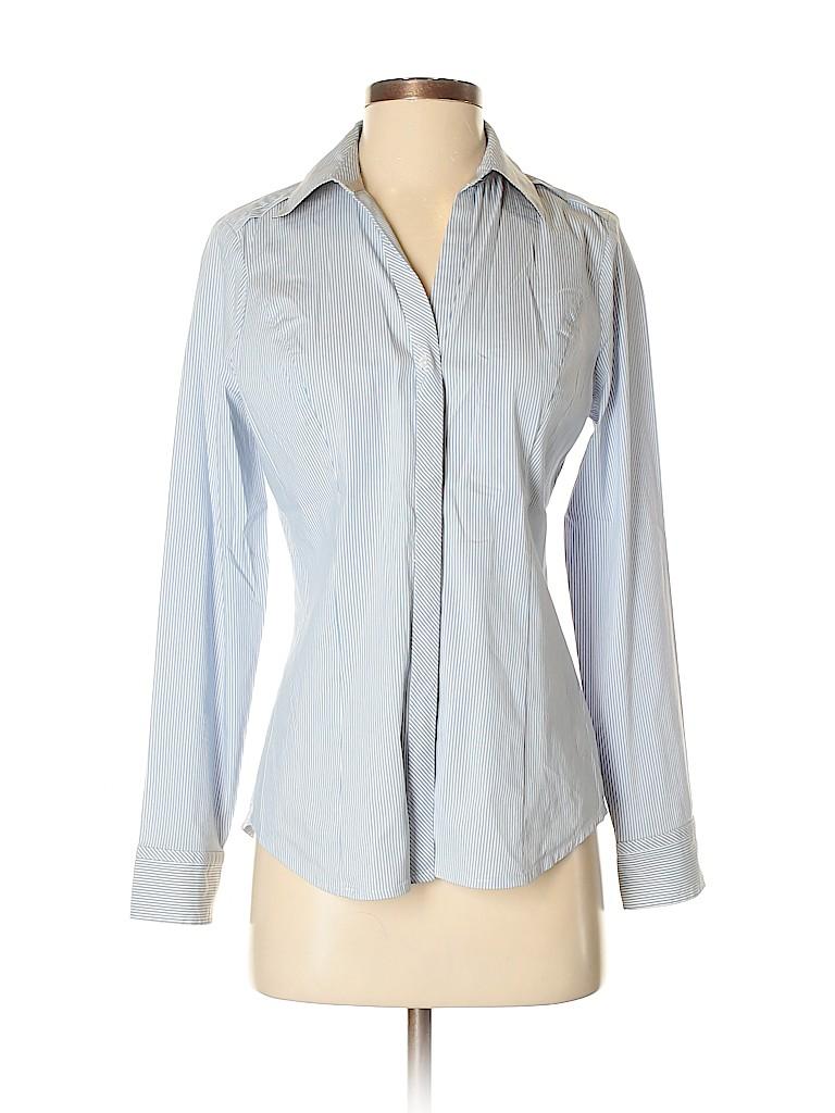 9ca2bf1e4c6f6b Express Stripes Blue Long Sleeve Button-Down Shirt Size S (Petite ...