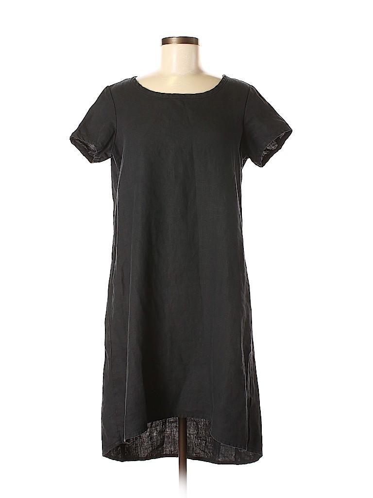 463ad3cf4a73c Garnet Hill 100% Linen Solid Black Casual Dress Size 6 - 77% off ...