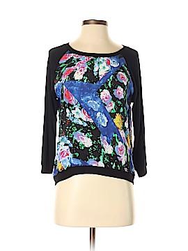 Aqua Long Sleeve Silk Top Size XS