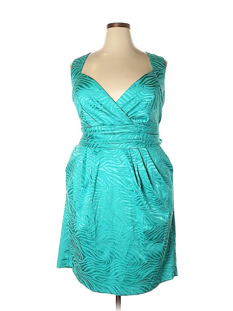 b5113c53e8 Ashley Stewart Animal Print Metallic Teal Cocktail Dress Size 22 ...