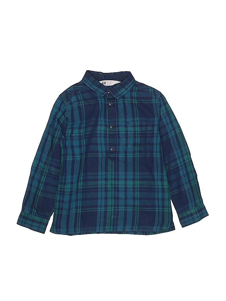 2dcda0d5152 H M Plaid Dark Blue Long Sleeve Button-Down Shirt Size 5 - 6 - 61 ...