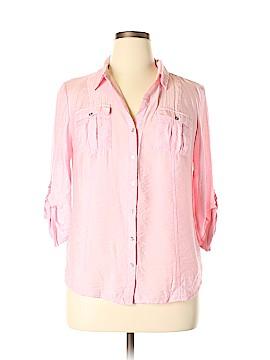 Roz & Ali 3/4 Sleeve Button-Down Shirt Size XL