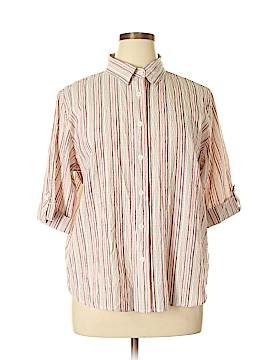 BonWorth 3/4 Sleeve Button-Down Shirt Size L (Petite)