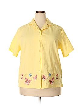 Jane Ashley Short Sleeve Button-Down Shirt Size 1X (Plus)