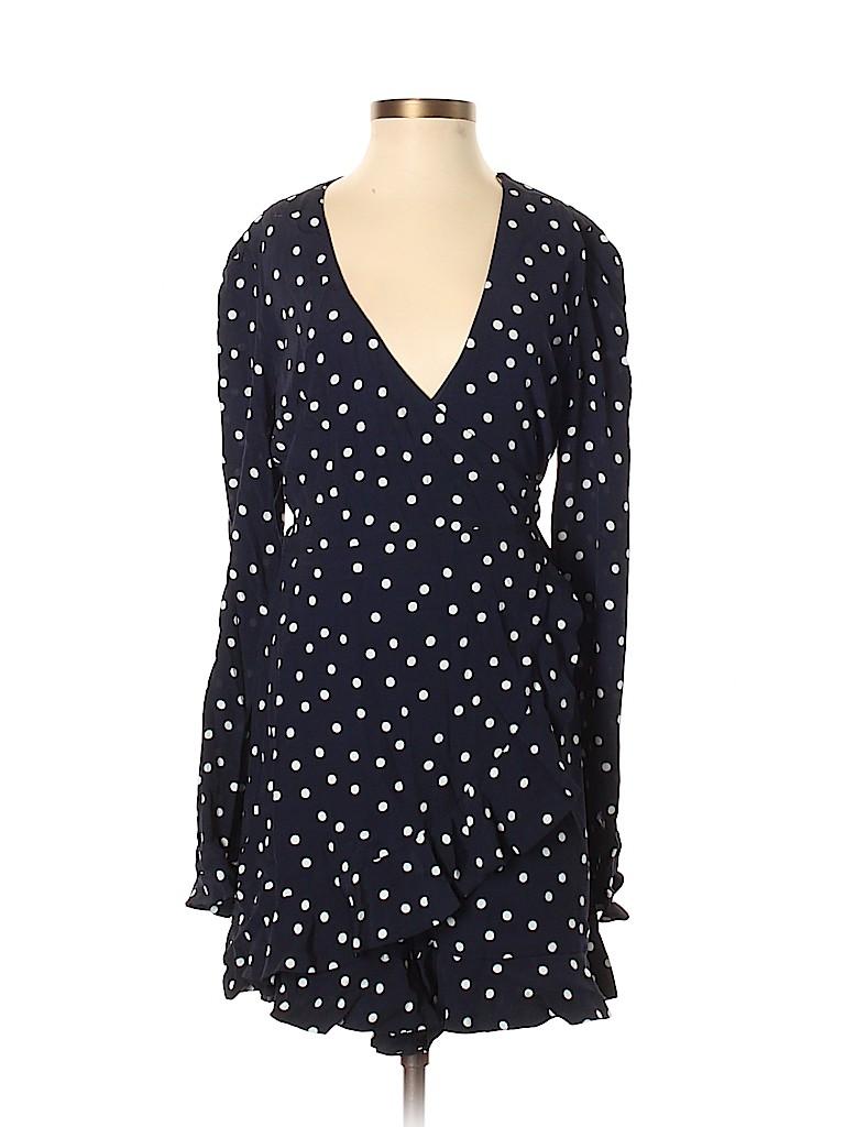 54622e38a50 Trafaluc by Zara 100% Viscose Polka Dots Navy Blue Romper Size S ...