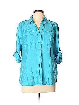 DressBarn 3/4 Sleeve Button-Down Shirt Size L