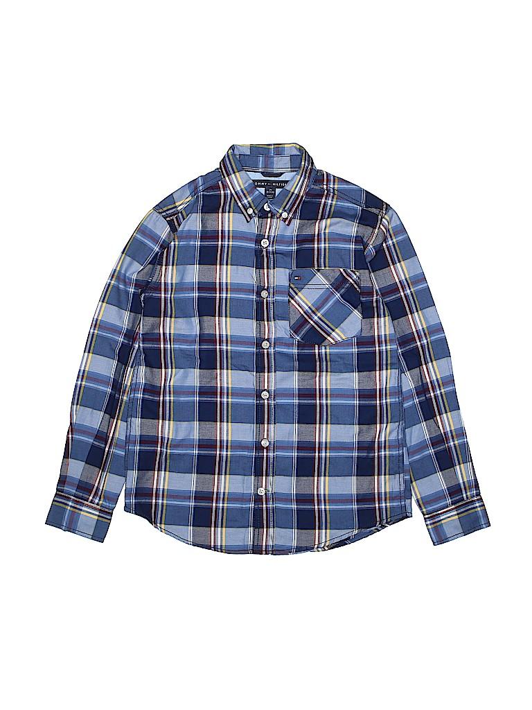 2f32d549 Tommy Hilfiger Plaid Dark Blue Long Sleeve Button-Down Shirt Size M ...