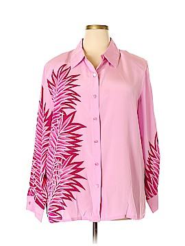 Bob Mackie Long Sleeve Silk Top Size 2X (Plus)
