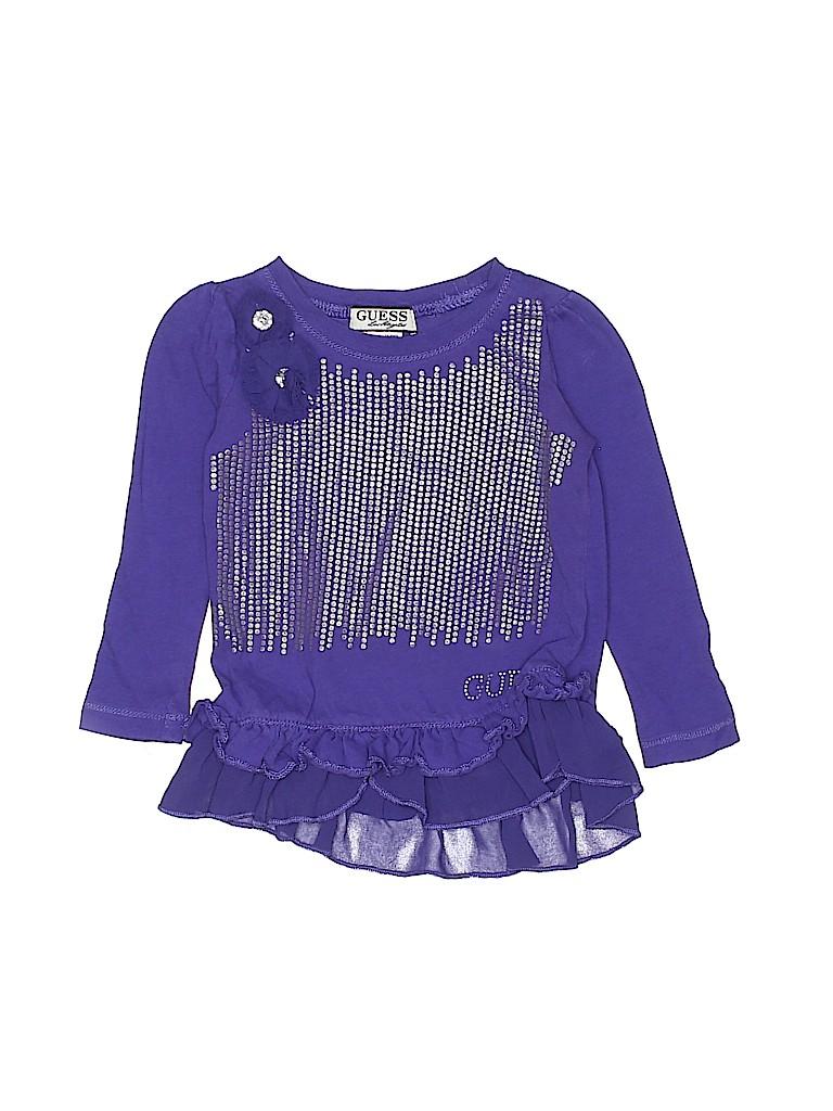 d5d8baeb4415 Guess 100% Cotton Solid Dark Purple Long Sleeve Top Size 3T - 75 ...